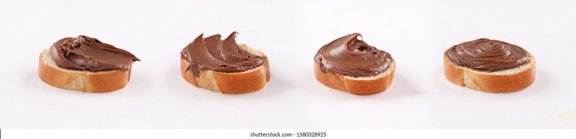 spread chocolate french bread,  canape, spanish tapas on white background