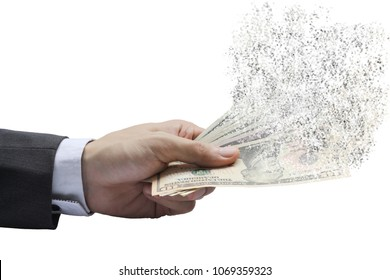 The spread of dollar paper currency in the hands, Spending money dispersion of dollar.