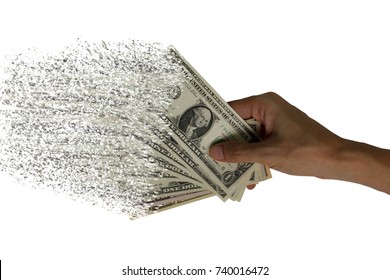 The spread of dollar paper currency in the hands, Spending money dispersion of dollar