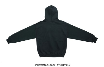 Spread out blank hoodie sweatshirt color black back view on white background