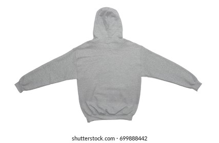 spread out blank hoodie sweatshirt color grey back view on white background