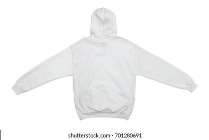 spread out blank hoodie sweatshirt color white back view on white background
