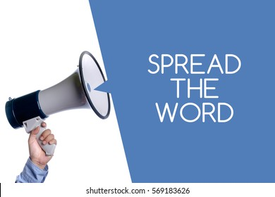Spread the word. Hand with megaphone / loudspeaker. Business concept.