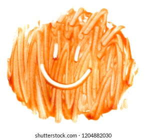 Spreaded tomato sauce smile, ketchup emoticon for happy cooking concept. Smiling face made of smeared catsup