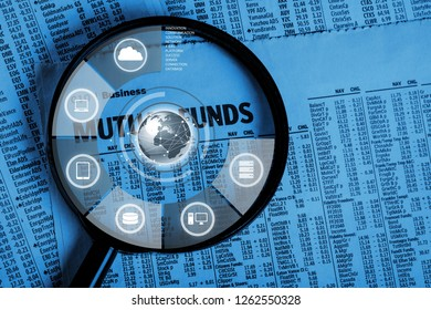 Spreadsheet bank accounts accounting with calculator and magnifying glass. Concept for financial fraud investigation, audit and analysis.