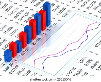 Spreadsheet with blue and red graph bars with numbers in background
