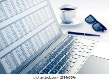 Spreadsheet in Laptop