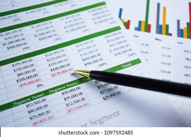 Spreadsheet table paper with pencil. Finance development, Banking Account, Statistics Investment Analytic research data economy, trading, Mobile office reporting Business company meeting concept.