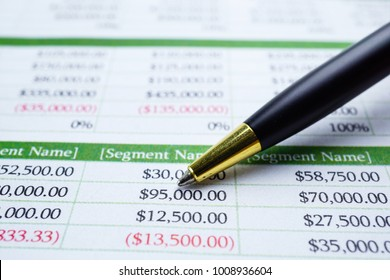 Spreadsheet table paper with pencil. Financial development, Banking Accounting, Statistics Investment Analytic research data economy, trading, Mobile office reporting Business company meeting concept.