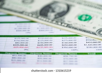 Spreadsheet table paper with US dollar. Finance development, Banking Account, Statistics Investment Analytic research data economy, trading, Mobile office reporting Business company meeting concept.