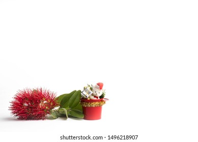 A sprig of red flowering pohutukawa (New Zealand Christmas tree) with Christmas decorations on a white background.