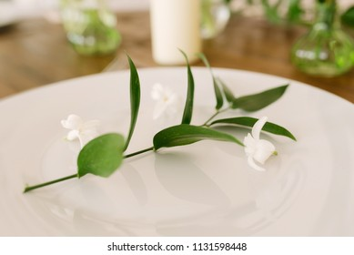 a sprig of Ruscus on a serving plate, a decor of a macro