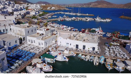 Spring 2017: Aerial bird's eye view photo taken by drone of iconic and picturesque port of Naousa village, Paros island, Cyclades, Greece