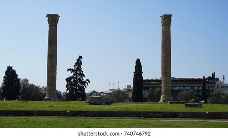 Spring 2017: Photo from iconic pillars of Temple of Olympian Zeus, Athens historic center, Attica, Greece