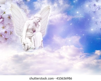 spring angel with flowers and copy space