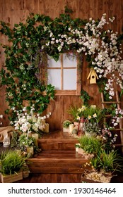 Spring backdrop.Backdrops for photo studio with spring decor for kids and family photo sessions.Selective focus. - Shutterstock ID 1930146464