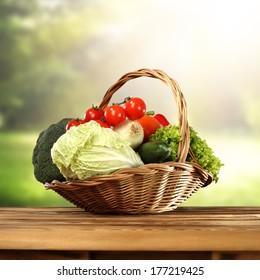 spring background of basket with vegetables
