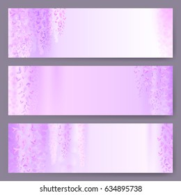 Spring background with blooming wisteria. horizontal banner