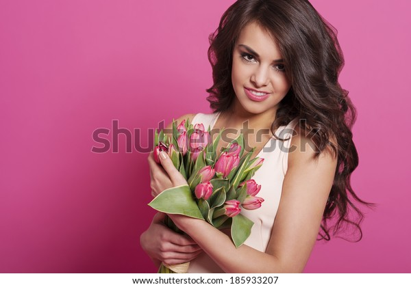 Spring beauty woman with tulips