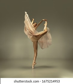 Spring blooming. Graceful classic ballerina dancing on grey studio background. Tender beige cloth. The grace, artist, movement, action and motion concept. Looks weightless, flexible. Fashion, style. - Shutterstock ID 1675214953