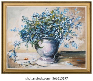 """Spring blue flowers """" Forget me not""""  ((Myosotis))  bouquet in ceramic  vase oil art handmade painting. Wooden golden simple frame with rough edges. Isolated"""