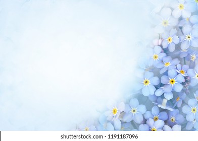 Spring blue forget-me-nots flowers posy, pastel background, selective focus, toned floral card