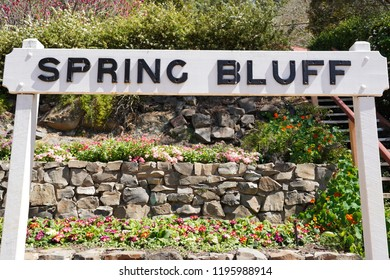 Spring Bluff, Toowoomba, Queensland/ Australia - October 2 2018: Spring Bluff Railway Station signage