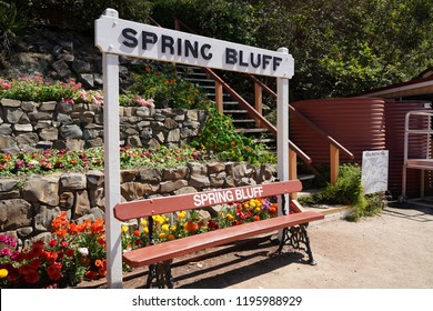 Spring Bluff, Toowoomba, Queensland/ Australia - October 2 2018: Spring Bluff Railway Station bench and signage