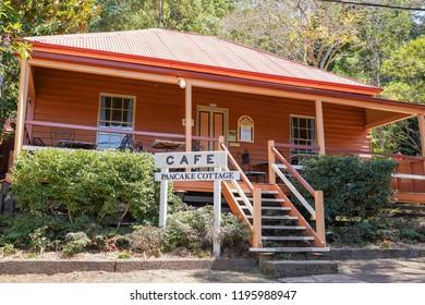 Spring Bluff, Toowoomba, Queensland/ Australia - October 2 2018: Spring Bluff Railway Station Pancake Cottage Cafe