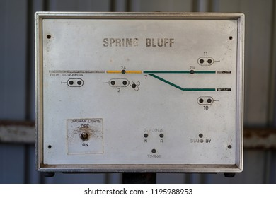Spring Bluff, Toowoomba, Queensland/ Australia - October 2 2018: Spring Bluff Railway Station Track Switch Lever Light  Indicator