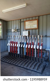 Spring Bluff, Toowoomba, Queensland/ Australia - October 2 2018: Spring Bluff Railway Station Track Switch Lever