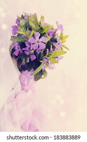 Spring bouquet of lilac periwinkle, tinted