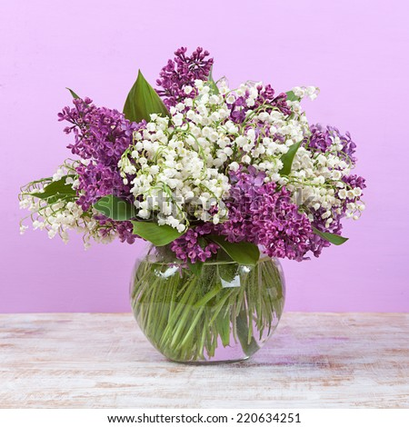 Spring Bouquet Lily Valley Lilac Vase Stock Photo Edit Now