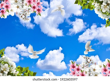 Spring branches and flying birds in the cloudy sky  - Shutterstock ID 1922603597