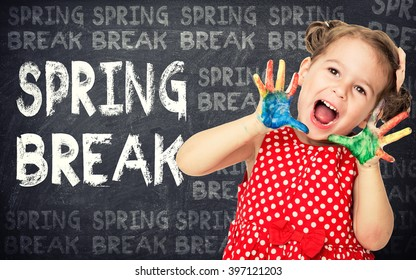Spring break announcement by happy girl