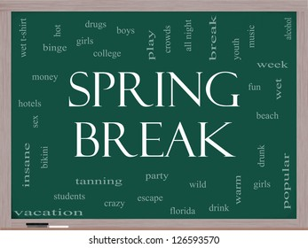 Spring Break Word Cloud Concept on a Blackboard with great terms such as girls, wild, college, drunk, party and more.