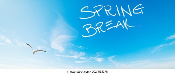 Spring break written in the blue sky