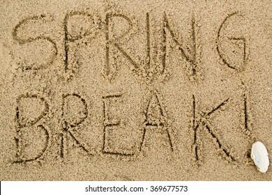 """""""Spring Break!"""" written in sand"""