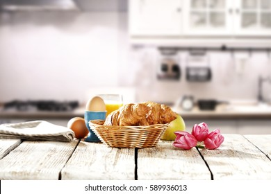 Spring breakfast in the morning in a white kitchen