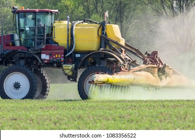 Spring chemical treatment of cereals, close up