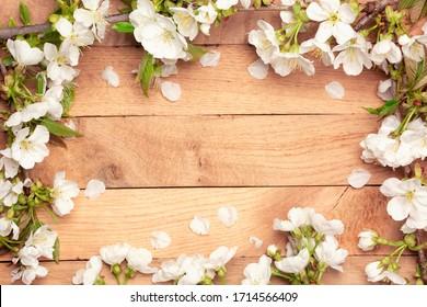Spring Cherry Blossom  - Spring flowers frame on wooden background - Shutterstock ID 1714566409