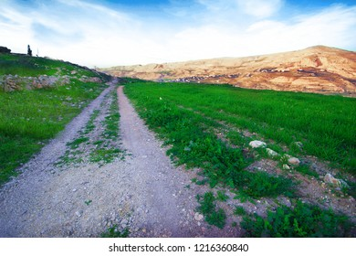 Spring in the city of Karak in Jordan A road extending towards the mountains