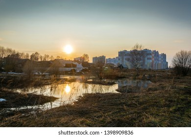 Spring city landscape in the rays of the setting sun on the outskirts of the city of Ivanovo.