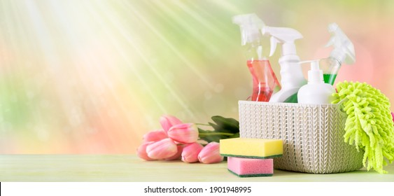 Spring cleaning concept - cleaning supplies and flowers on blur background, copy space