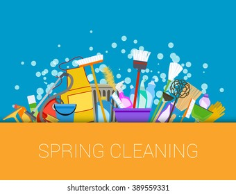 Spring cleaning with set of supplies background. Raster
