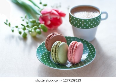 Spring coffee background. Pink tulip, freesia, espresso and macarons in front, spring flowers in the back.