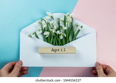 Spring concept. Envelope with snowdrops, wooden inscription 'April' on the light pink and blue background