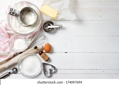 Spring cookies ingredients - flour, sugar, egg, butter, baking powder, vanilla extract