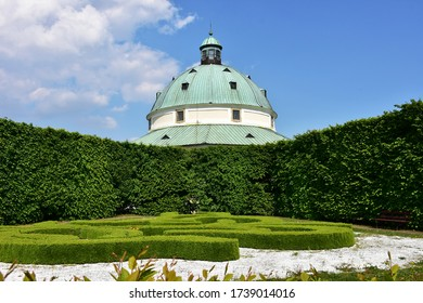 spring coronavirus  time in garden of UNESCO protected town Kromeriz in Czech republic