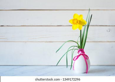 Spring Daffodil Flower in Modern gray vase on table with white wood shiplap boards background with copy space on side.  Horizontal